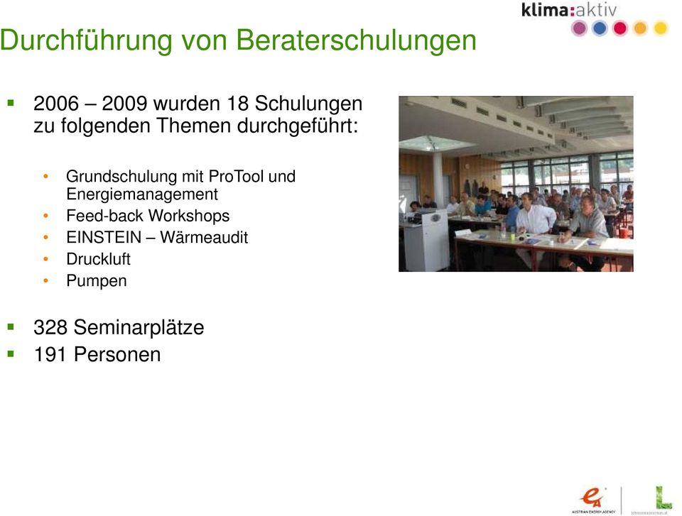 ProTool und Energiemanagement Feed-back Workshops EINSTEIN