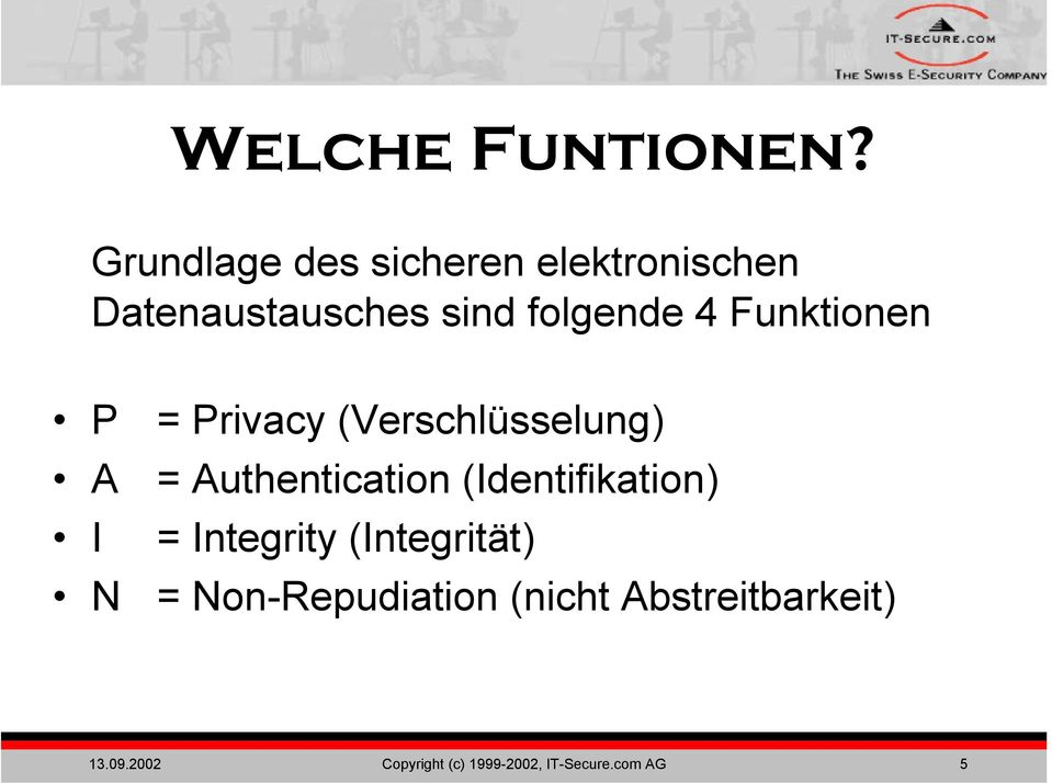 Funktionen P A I N = Privacy (Verschlüsselung) = Authentication