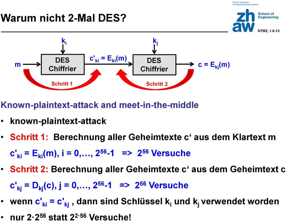 meet-in-the-middle known-plaintext-attack Schritt 1: Berechnung aller Geheimtexte c aus dem Klartext m c' ki = E ki (m), i = 0,,