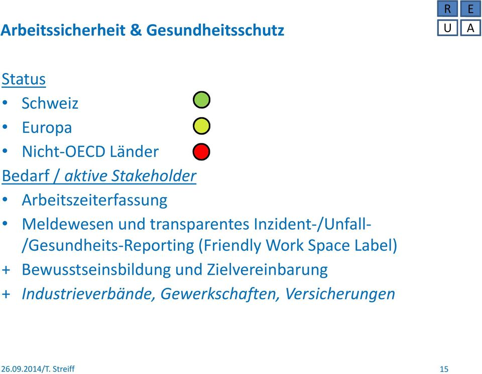 transparentes Inzident-/Unfall- /Gesundheits-Reporting (Friendly Work Space Label)