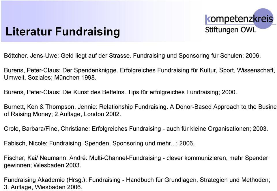 Burnett, Ken & Thompson, Jennie: Relationship Fundraising. A Donor-Based Approach to the Busine of Raising Money; 2.Auflage, London 2002.