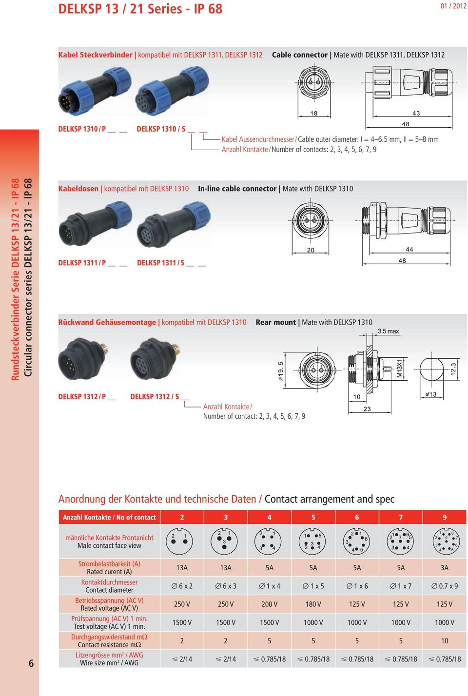 5 mm, II = 5 8 mm Anzahl Kontakte/ Number of contacts: 2, 3, 4, 5, 6, 7, 9 Rundsteckverbinder Serie DELKSP 13 / 21 - IP 68 Circular connector series DELKSP 13 / 21 - IP 68 Kabeldosen kompatibel mit