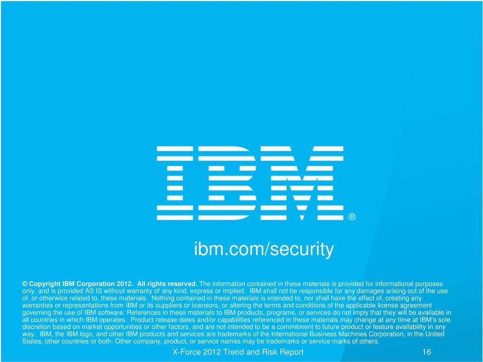 IBM shall not be responsible for any damages arising out of the use of, or otherwise related to, these materials.