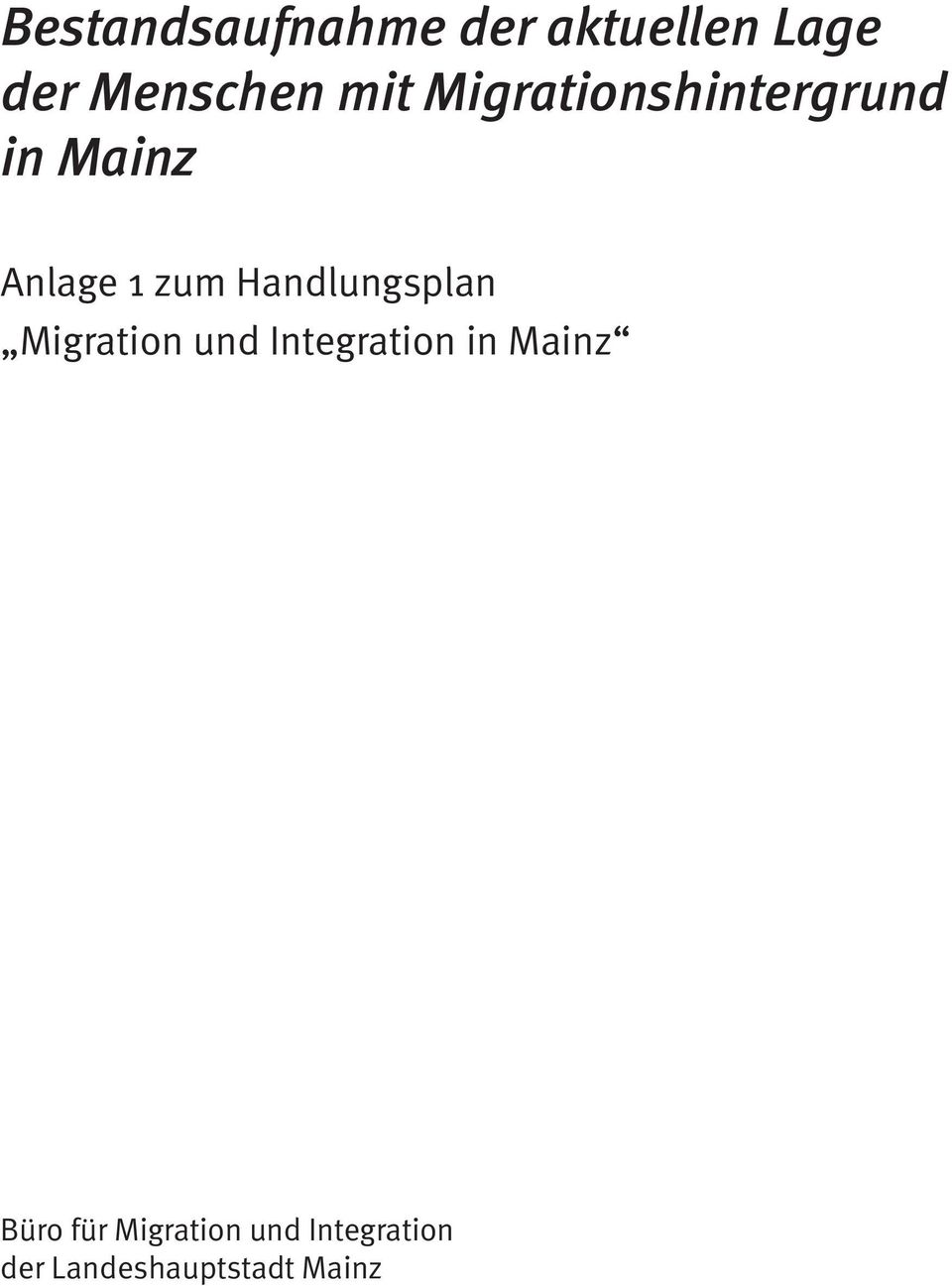 Handlungsplan Migration und Integration in Mainz