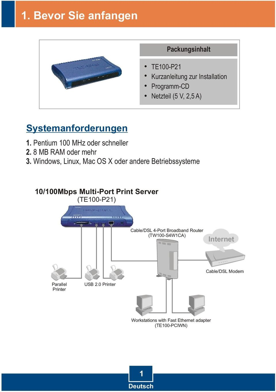 Windows, Linux, Mac OS X oder andere Betriebssysteme 10/100Mbps Multi-Port Print Server (TE100-P21) Cable/DSL
