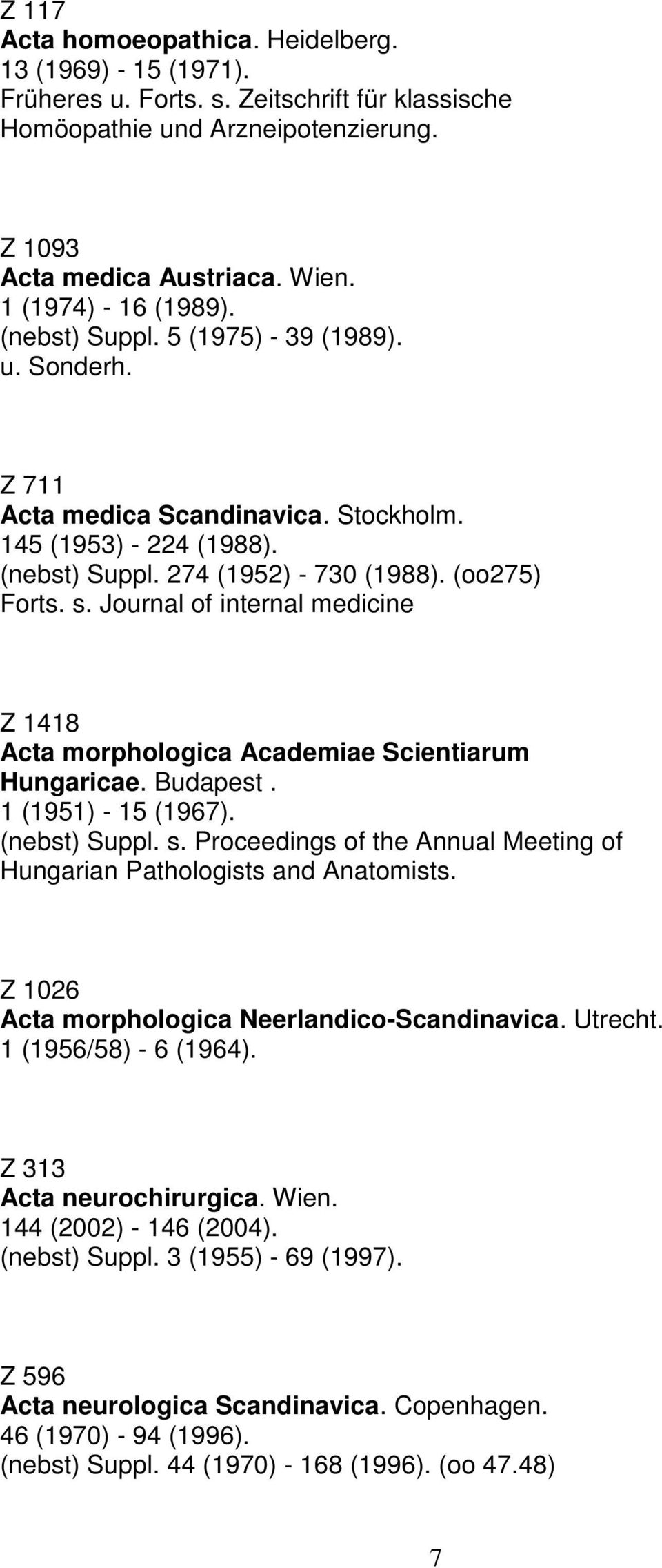 Journal of internal medicine Z 1418 Acta morphologica Academiae Scientiarum Hungaricae. Budapest. 1 (1951) - 15 (1967). s. Proceedings of the Annual Meeting of Hungarian Pathologists and Anatomists.