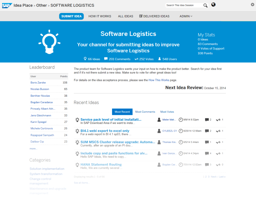 SAP Idea Place Influence the future of software logistics SAP Idea Place is your public channel to participate in innovation at SAP Enables you to submit ideas, collaborate on and vote for ideas, and