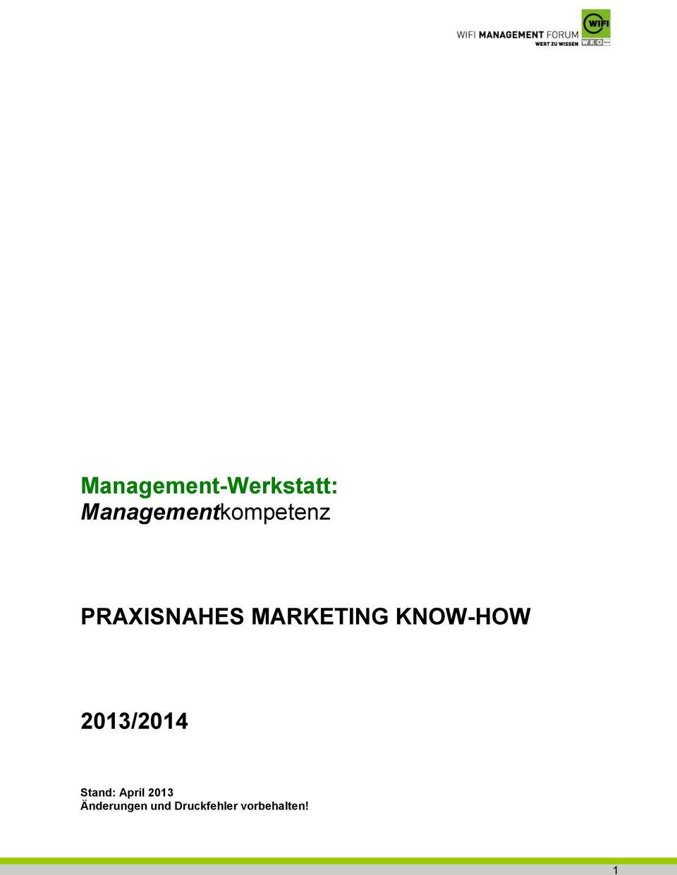MARKETING KNOW-HOW 2013/2014 Stand: