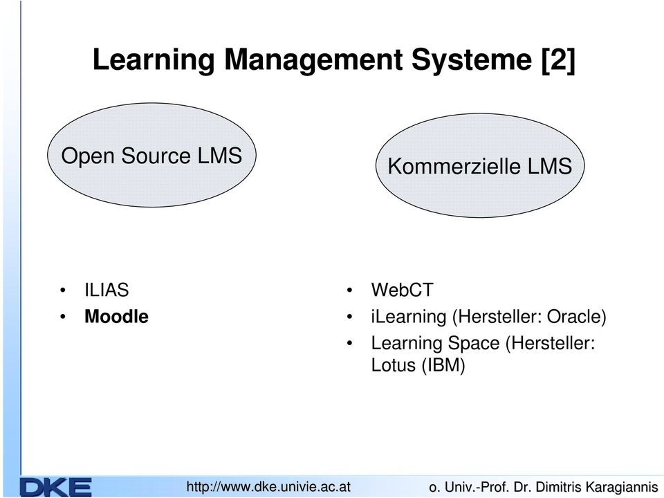 WebCT ilearning (Hersteller: Oracle)