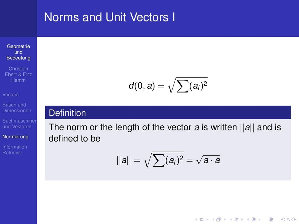 length of the vector a is written