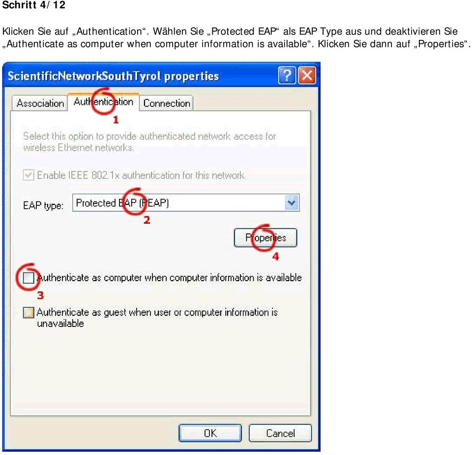 deaktivieren Sie Authenticate as computer when