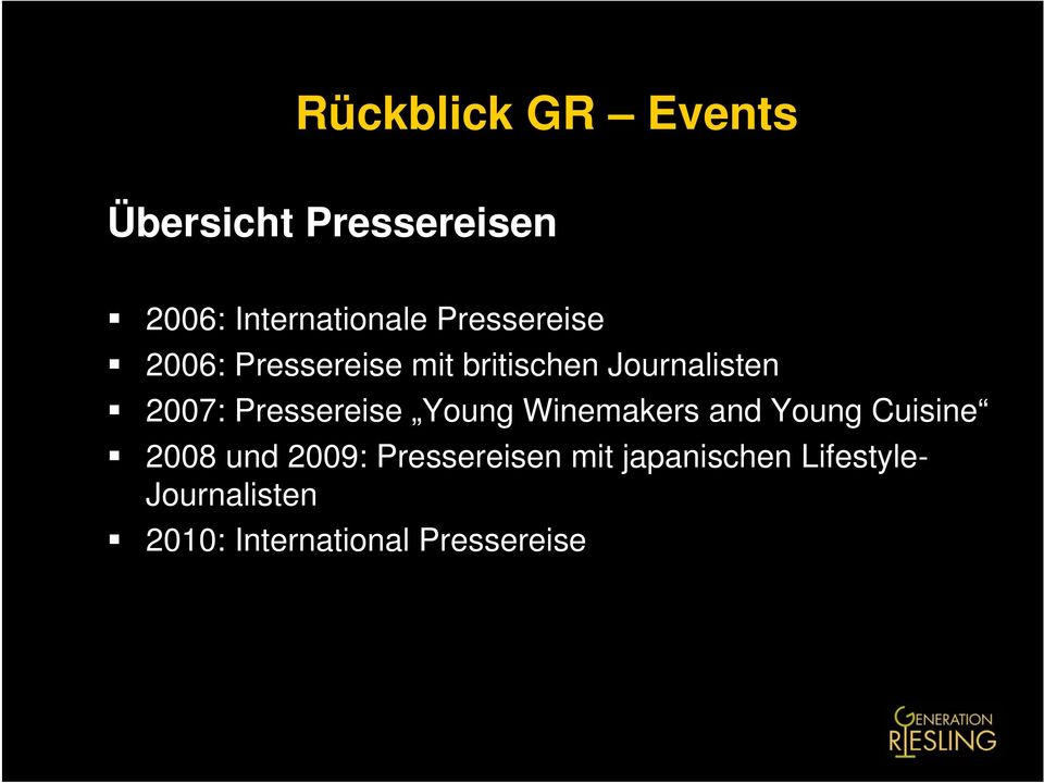 Pressereise Young Winemakers and Young Cuisine 2008 und 2009:
