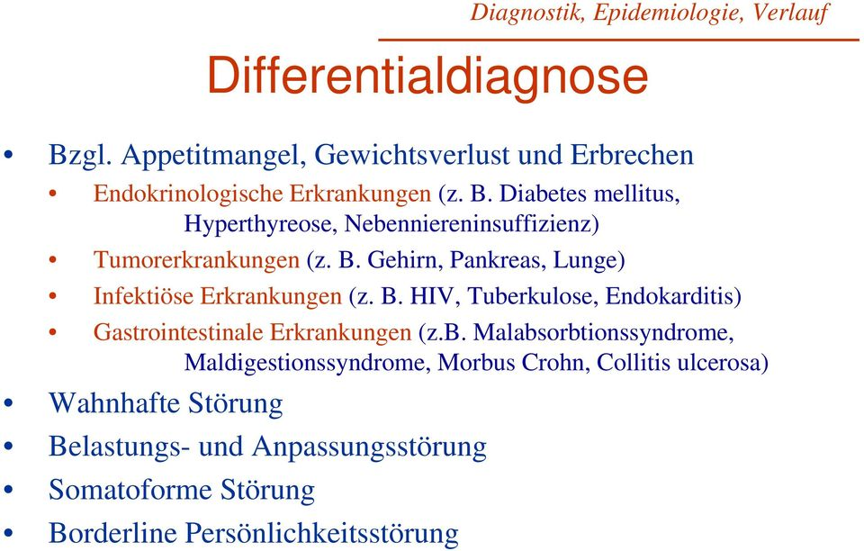 b. Malabsorbtionssyndrome, Maldigestionssyndrome, Morbus Crohn, Collitis ulcerosa) Wahnhafte Störung Belastungs- und
