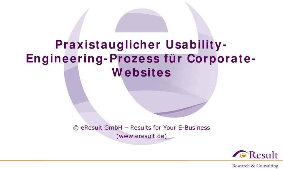 Corporate- Websites eresult GmbH