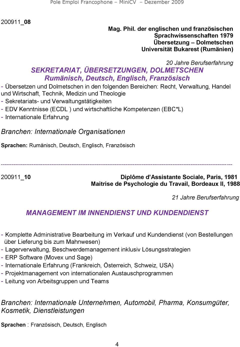 Großartig International Development Projektmanagement Lebenslauf ...