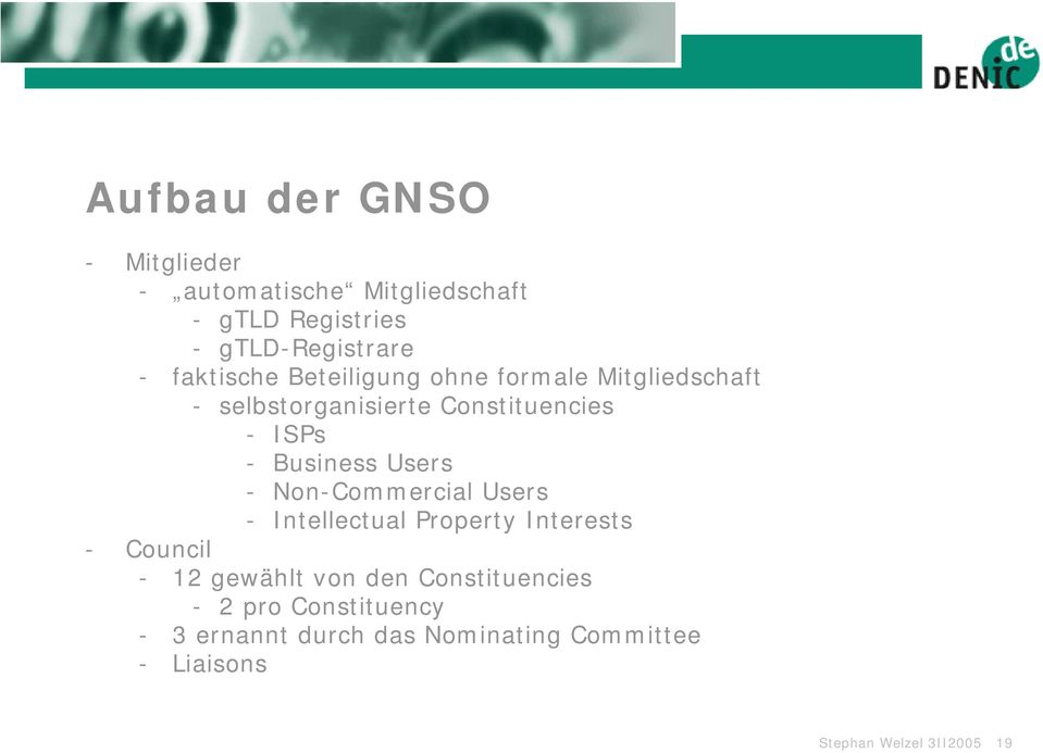 Business Users - Non-Commercial Users - Intellectual Property Interests - Council - 12 gewählt von den