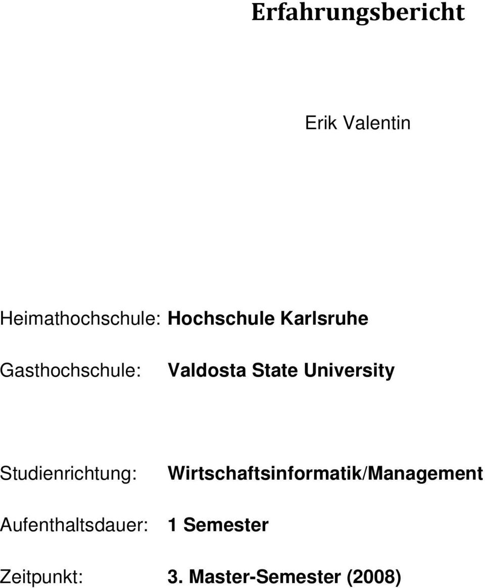 University Studienrichtung: