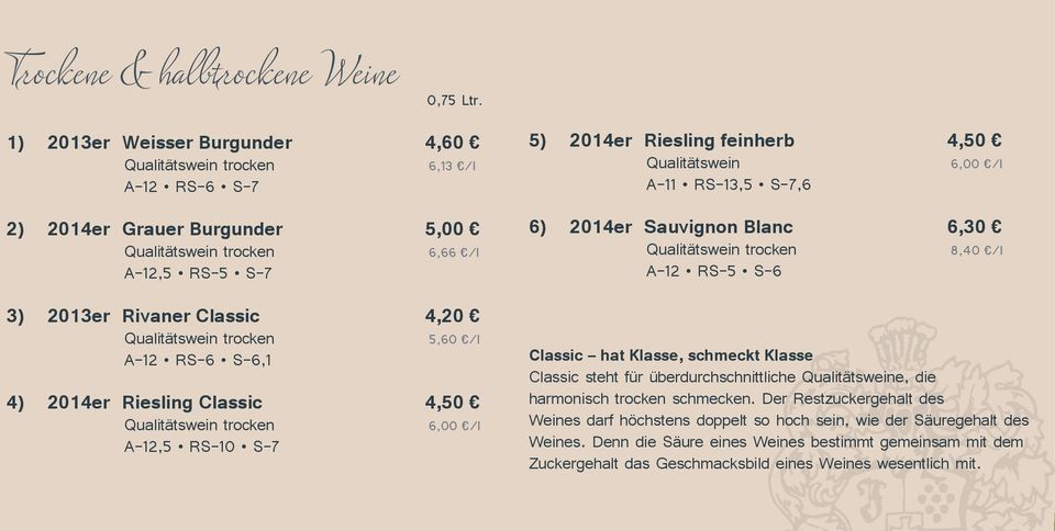 trocken 5,60 /l A 12 RS 6 S 6,1 4) 2014er Riesling Classic 4,50 Qualitätswein trocken 6,00 /l A 12,5 RS 10 S 7 5) 2014er Riesling feinherb 4,50 Qualitätswein 6,00 /l A 11 RS 13,5 S 7,6 6) 2014er