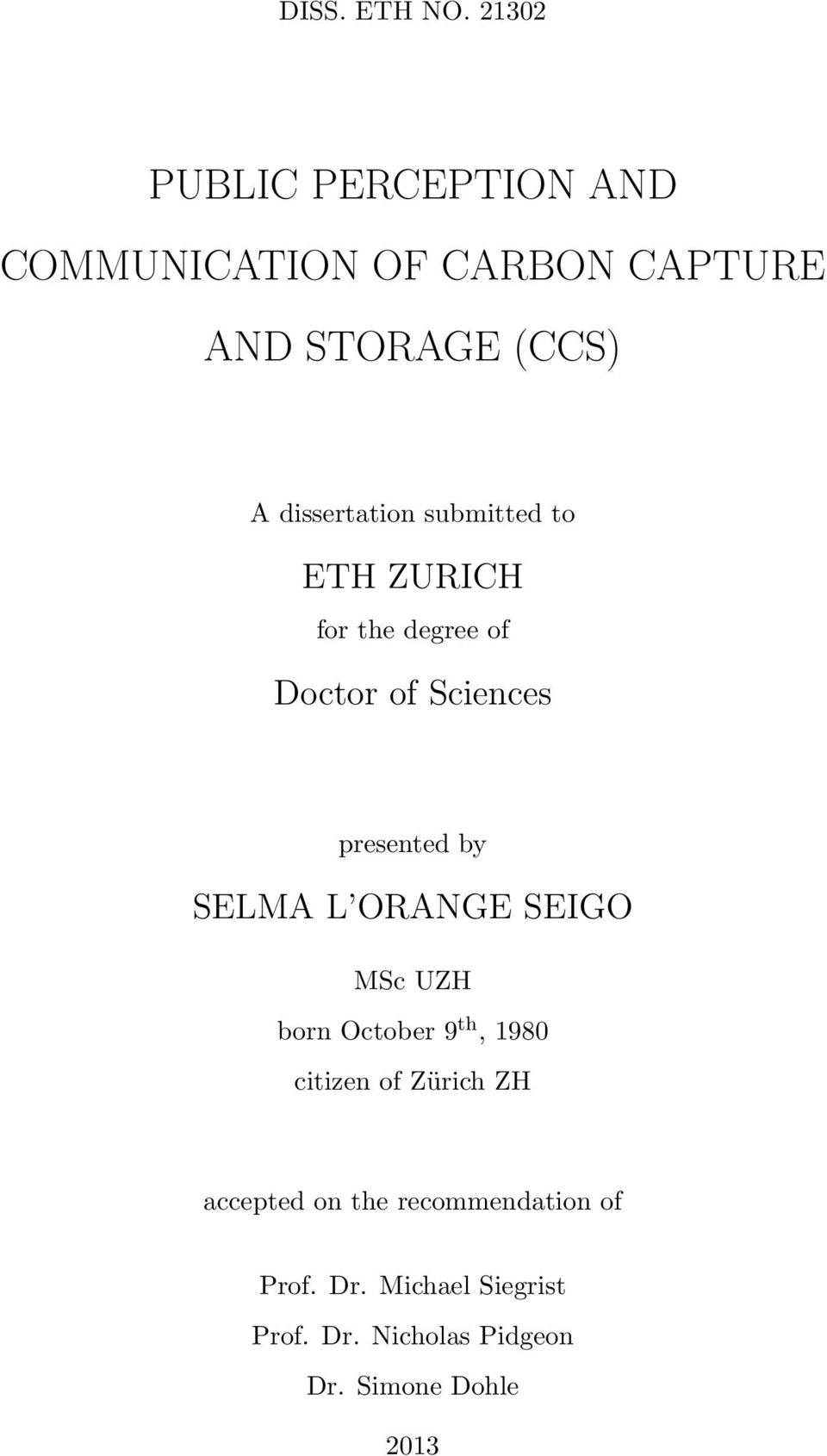 dissertation submitted to ETH ZURICH for the degree of Doctor of Sciences presented by