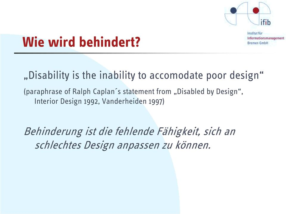 of Ralph Caplan s statement from Disabled by Design, Interior