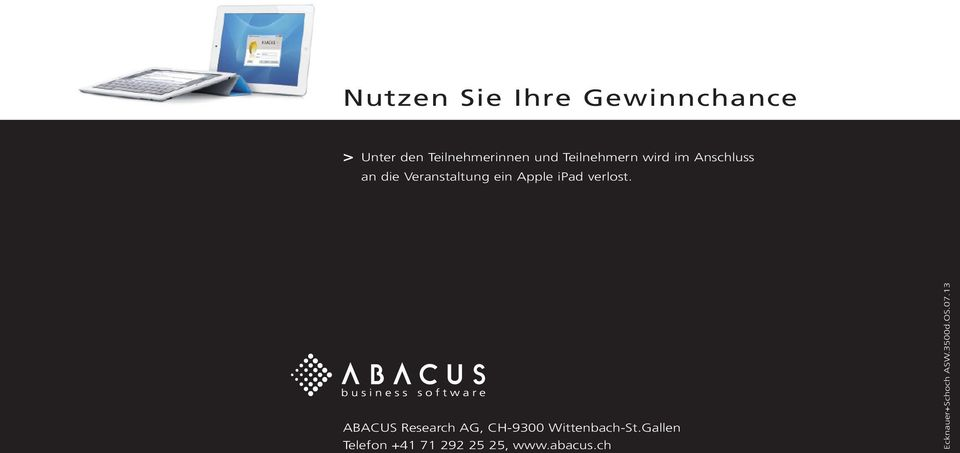 ipad verlost. ABACUS Research AG, CH-9300 Wittenbach-St.