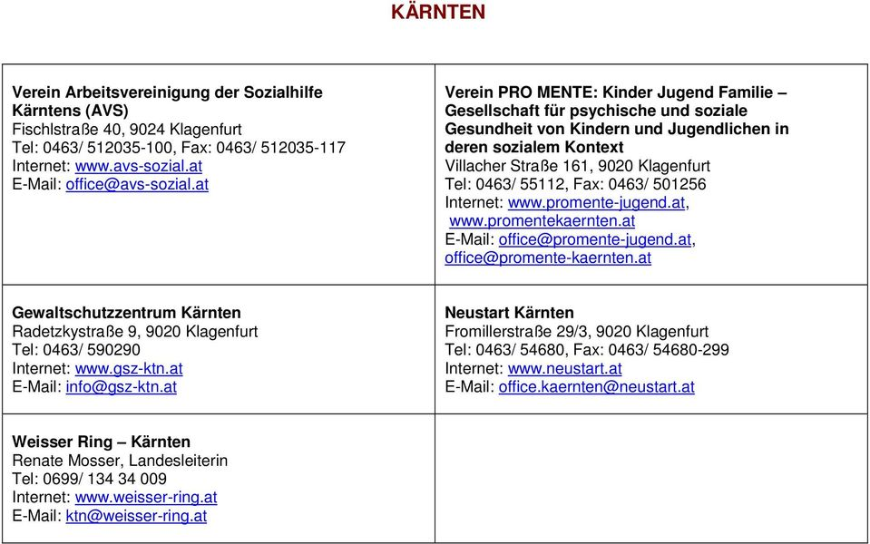 55112, Fax: 0463/ 501256 Internet: www.promente-jugend.at, www.promentekaernten.at E-Mail: office@promente-jugend.at, office@promente-kaernten.
