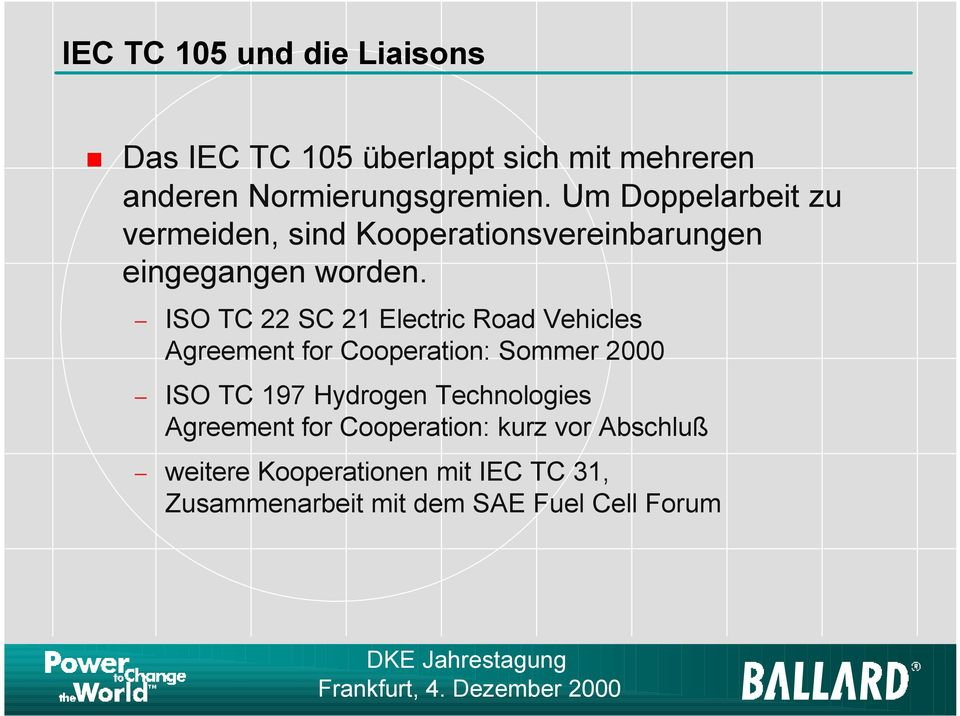ISO TC 22 SC 21 Electric Road Vehicles Agreement for Cooperation: Sommer 2000 ISO TC 197 Hydrogen