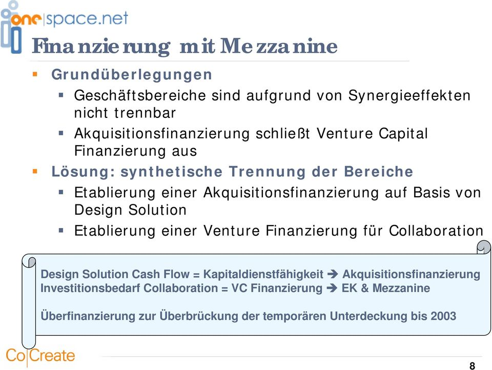 Design Solution Etablierung einer Venture Finanzierung für Collaboration Design Solution Cash Flow = Kapitaldienstfähigkeit