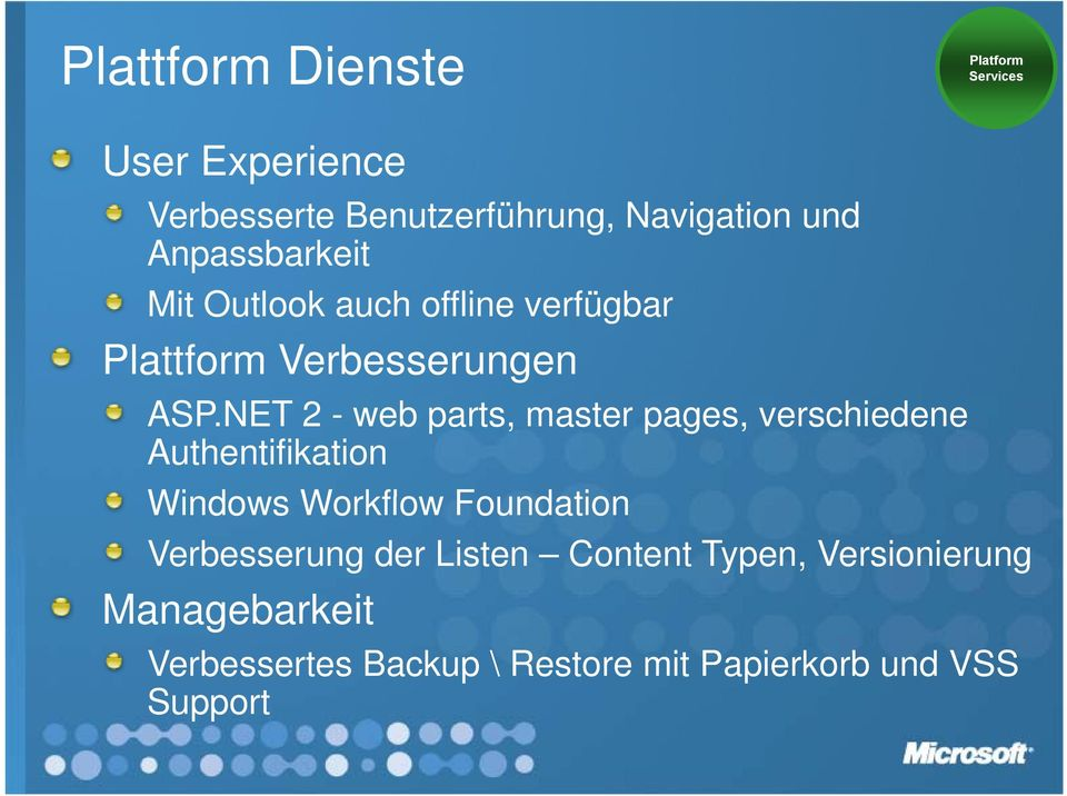 NET 2 - web parts, master pages, verschiedene Authentifikation Windows Workflow Foundation