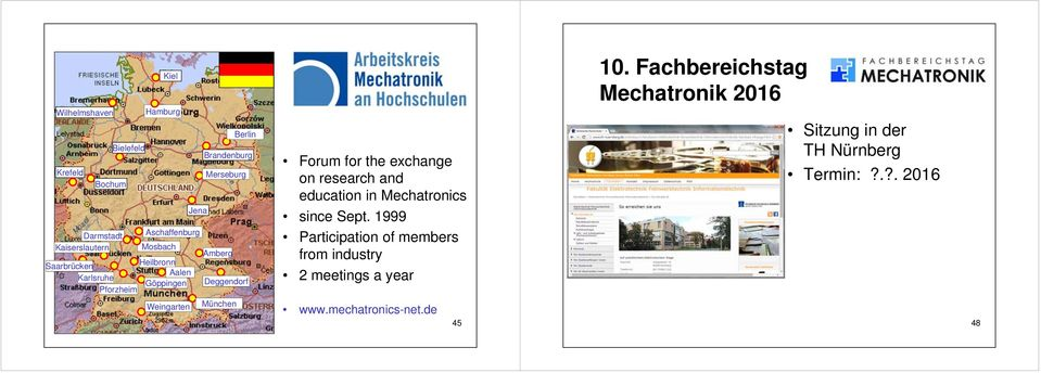 exchange on research and education in Mechatronics since Sept.