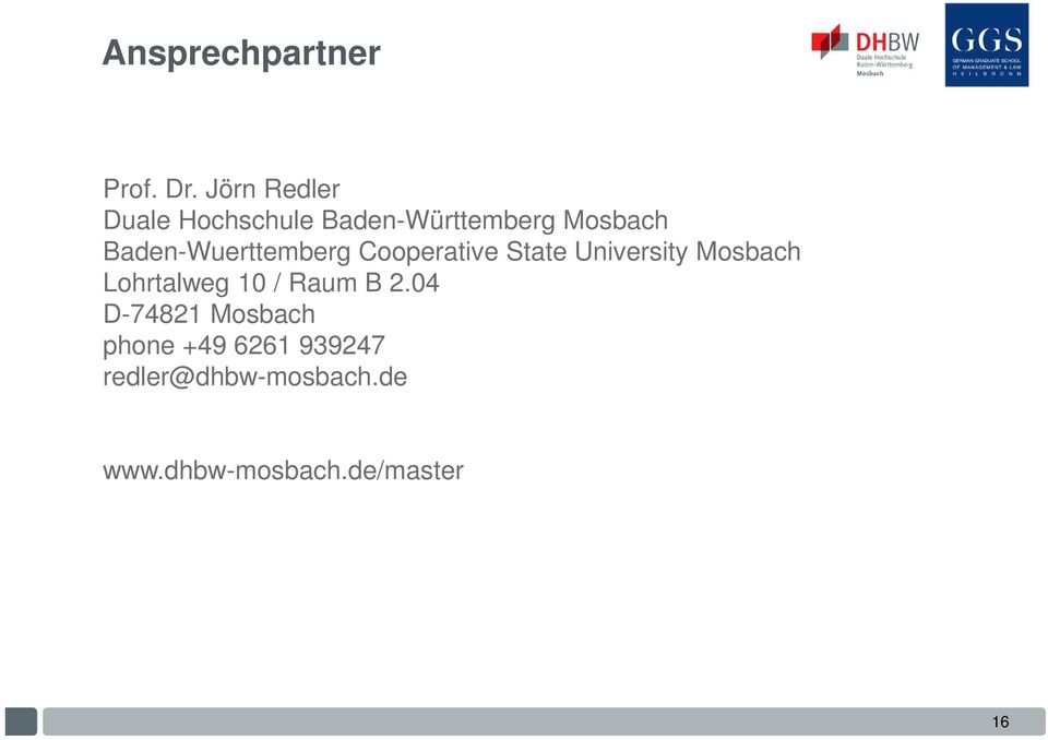 Baden-Wuerttemberg Cooperative State University Mosbach