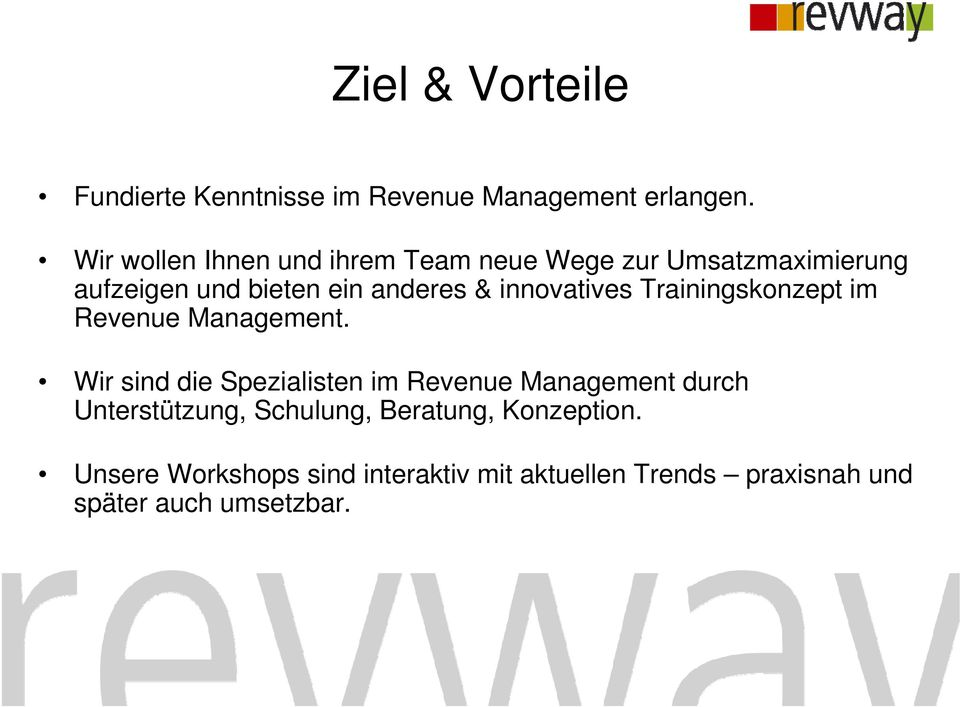 innovatives Trainingskonzept im Revenue Management.