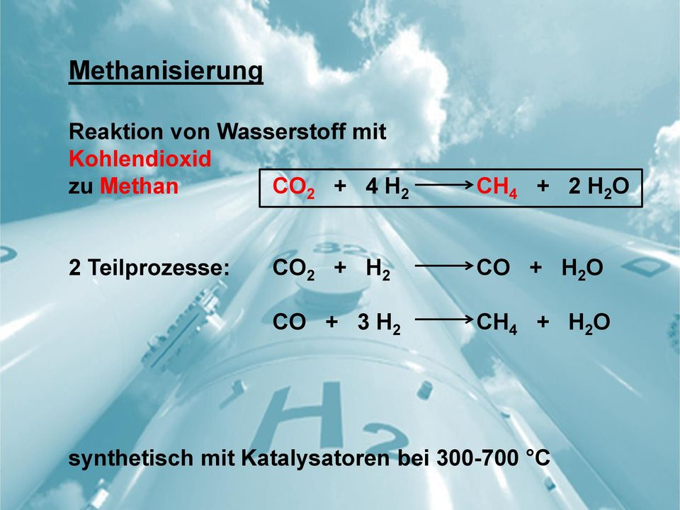 O 2 Teilprozesse: CO 2 + H 2 CO + H 2 O CO + 3 H