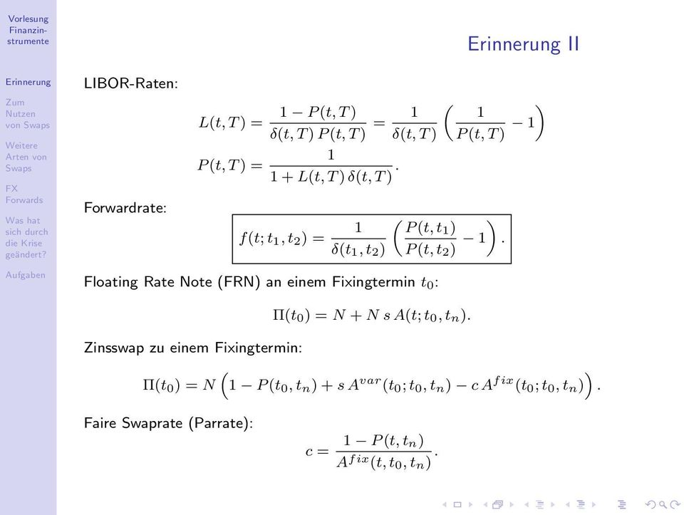 Floating Rate Note (FRN) an einem Fixingtermin t 0 : Π(t 0 ) = N + N s A(t; t 0, t n).
