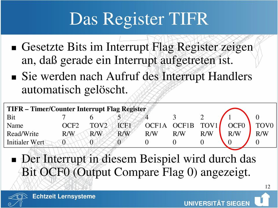 TIFR Timer/Counter Interrupt Flag Register Bit 7 6 5 4 3 2 1 0 Name OCF2 TOV2 ICF1 OCF1A OCF1B TOV1 OCF0 TOV0