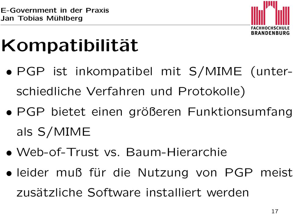 Funktionsumfang als S/MIME Web-of-Trust vs.