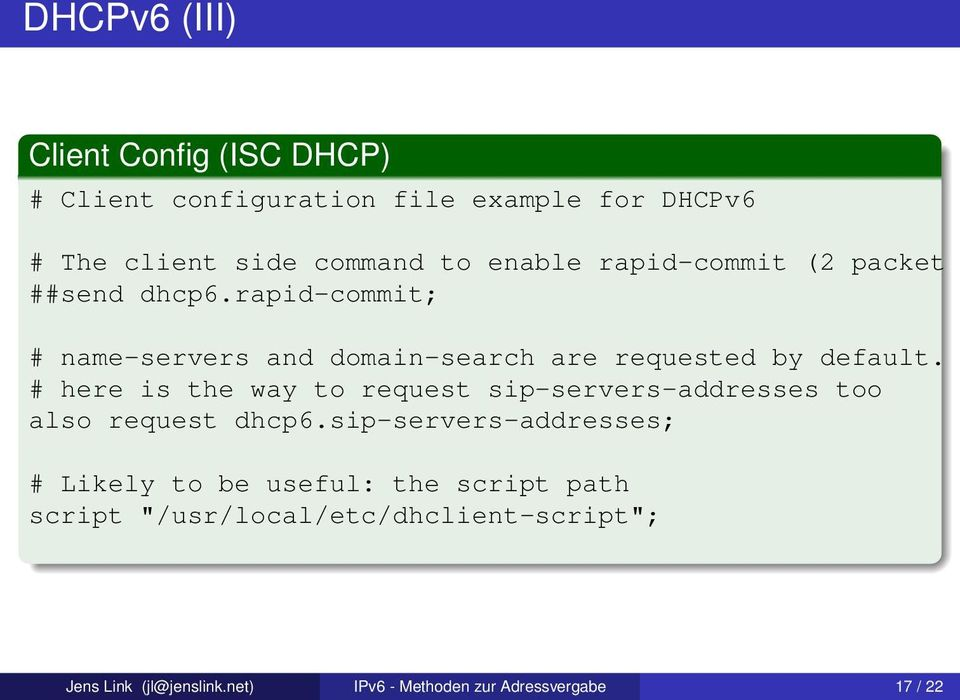# here is the way to request sip-servers-addresses too also request dhcp6.