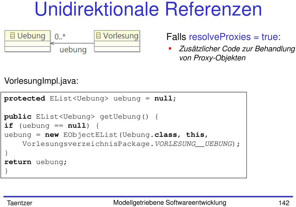 java: protected EList<Uebung> uebung = null; public EList<Uebung> getuebung() { if (uebung ==