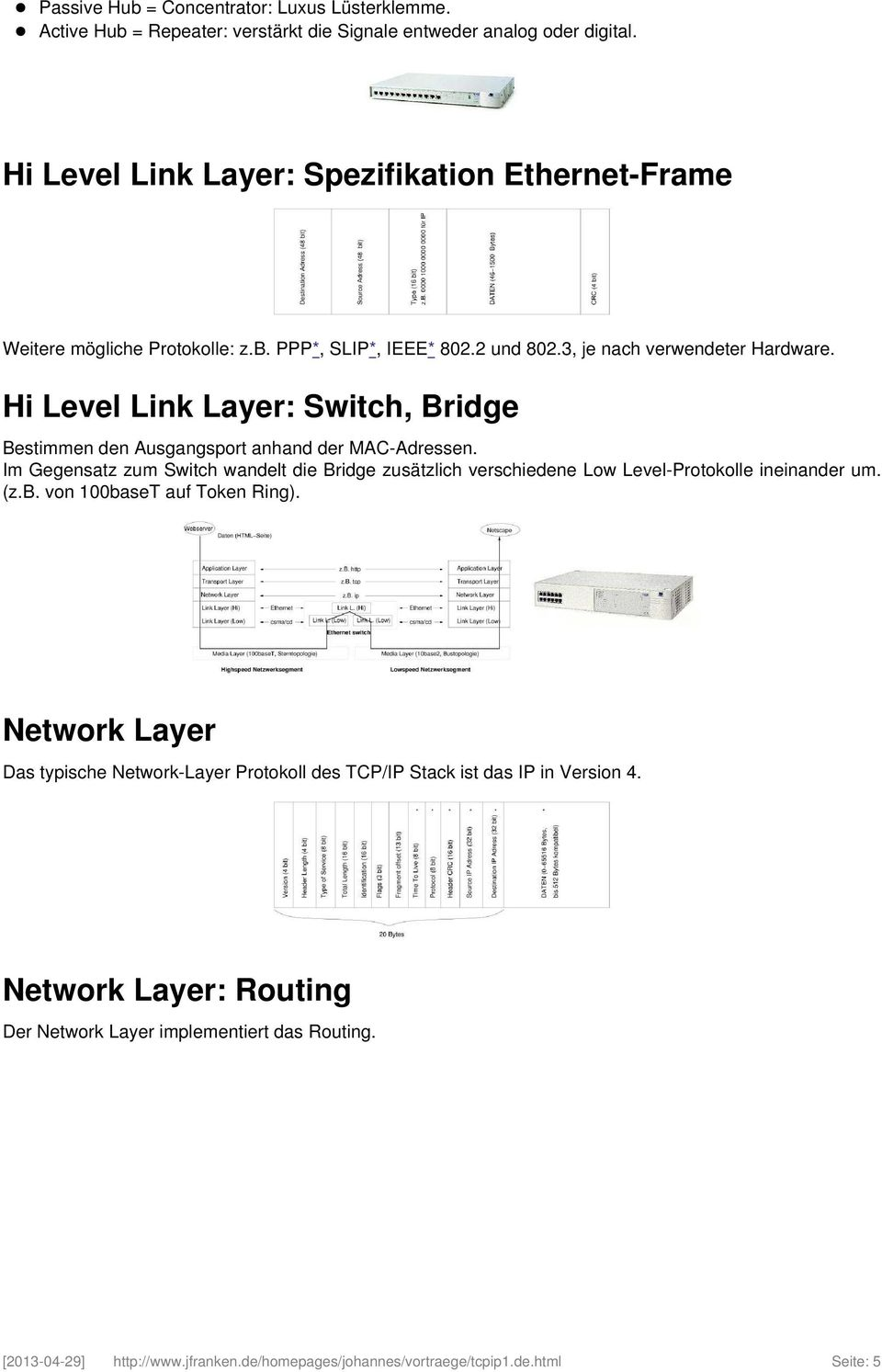 Hi Level Link Layer: Switch, Bridge Bestimmen den Ausgangsport anhand der MAC-Adressen.