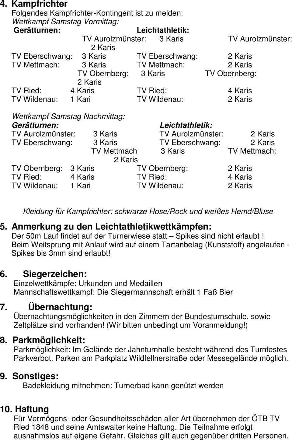 Samstag Nachmittag: Gerätturnen: Leichtathletik: TV Aurolzmünster: 3 Karis TV Aurolzmünster: 2 Karis TV Eberschwang: 3 Karis TV Eberschwang: 2 Karis TV Mettmach 3 Karis TV Mettmach: 2 Karis TV