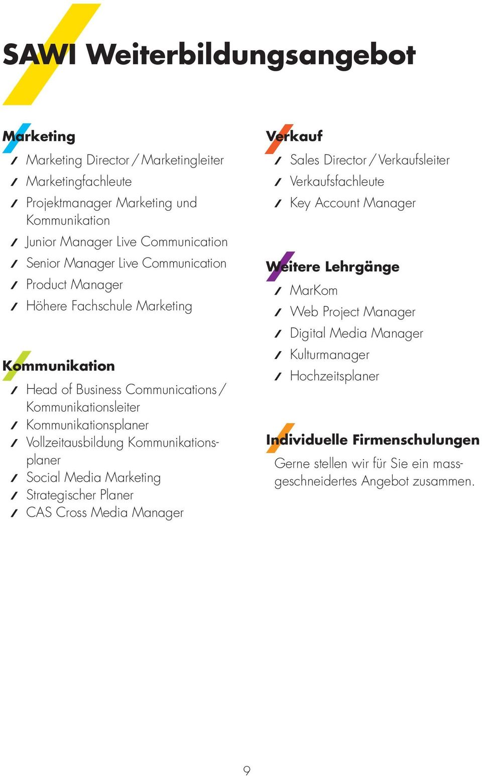 Kommunikationsplaner Social Media Marketing Strategischer Planer CAS Cross Media Manager Verkauf Sales Director / Verkaufsleiter Verkaufsfachleute Key Account Manager Weitere