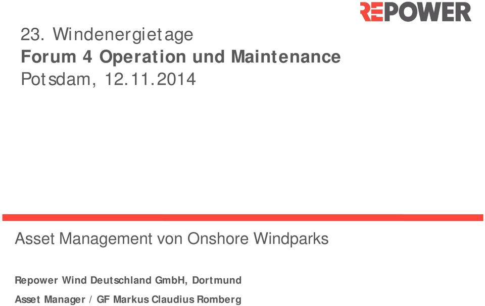 2014 Asset Management von Onshore Windparks