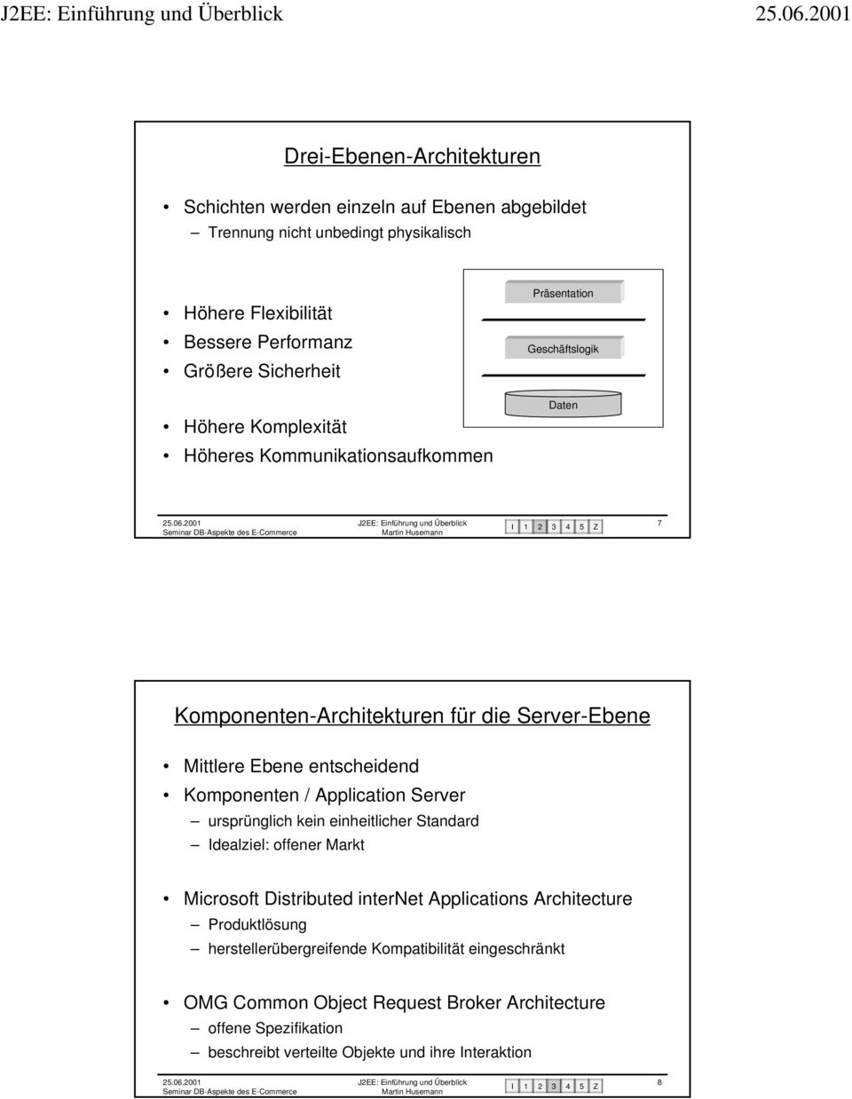 entscheidend omponenten / Application Server ursprünglich kein einheitlicher Standard Idealziel: offener Markt Microsoft Distributed internet Applications