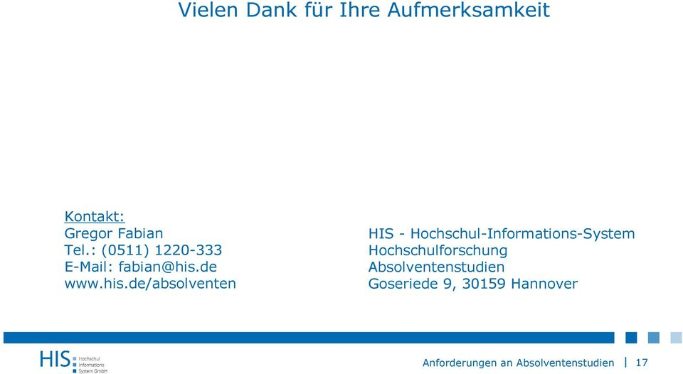 his.de/absolventen HIS - Hochschul-Informations-System