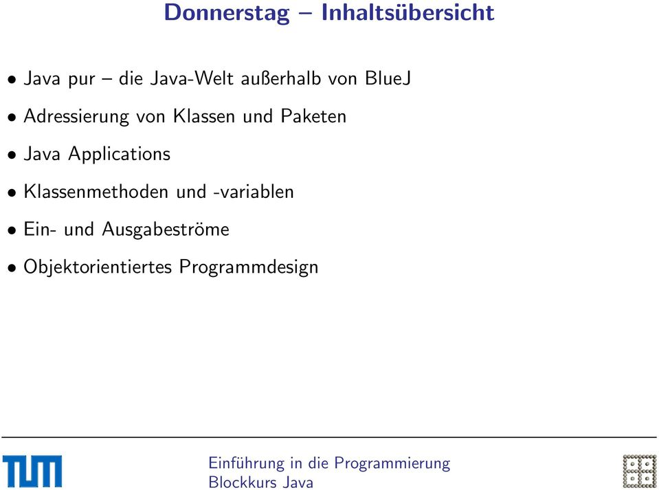 Paketen Java Applications Klassenmethoden und