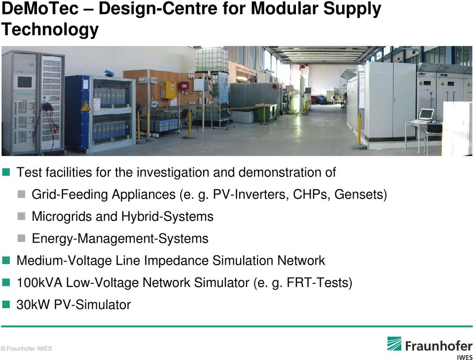 PV-Inverters, CHPs, Gensets) Microgrids and Hybrid-Systems y Energy-Management-Systems