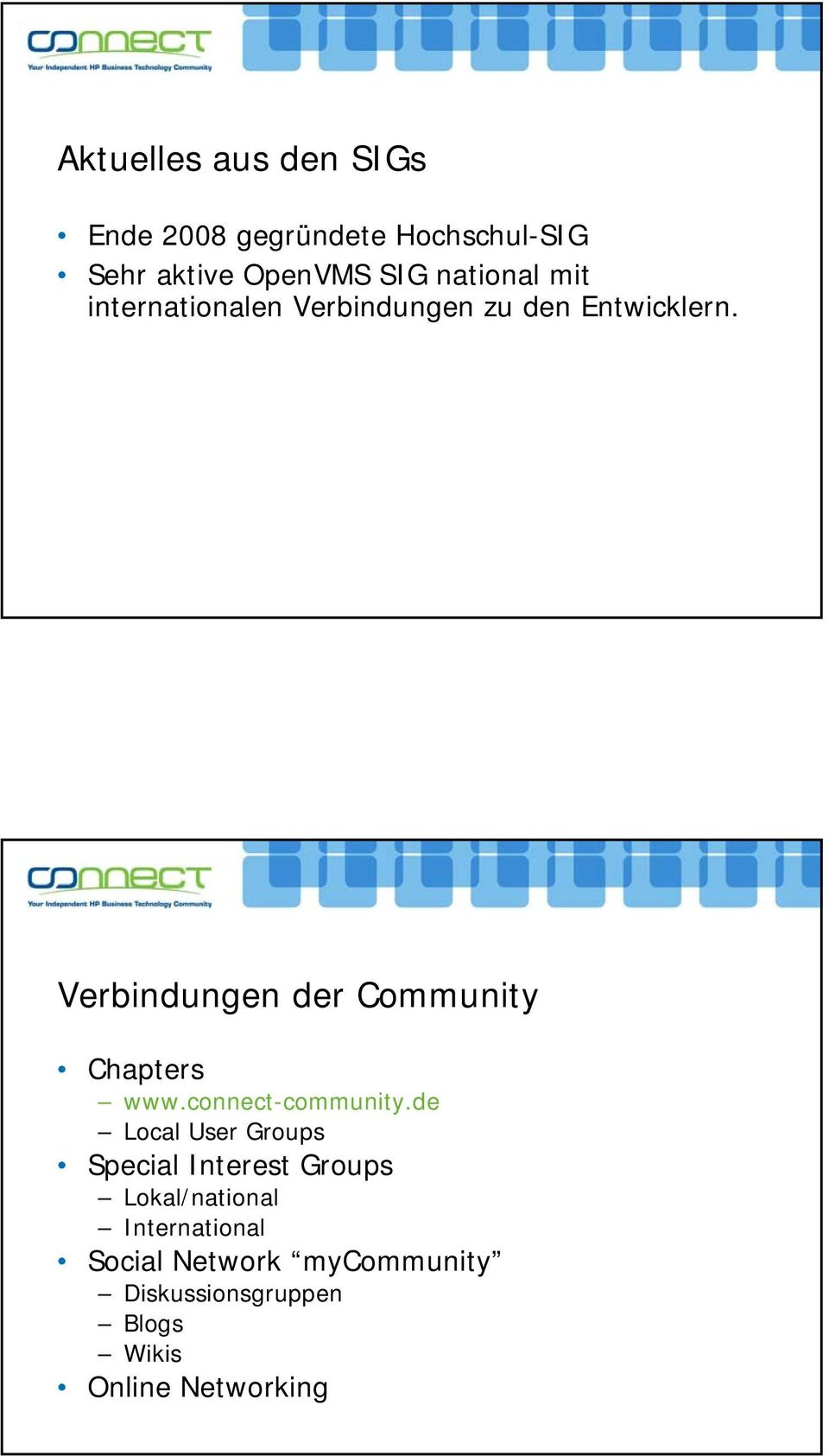 Verbindungen der Community Chapters www.connect-community.