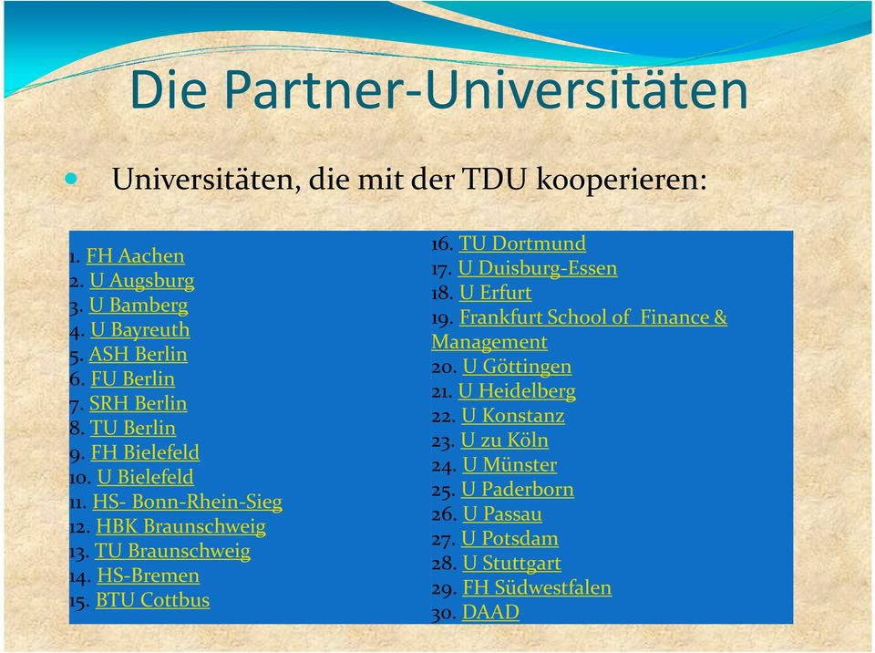 HS-Bremen 15. BTU Cottbus 16. TU Dortmund 17. U Duisburg-Essen 18. U Erfurt 19. Frankfurt School of Finance & Management 20. U Göttingen 21.