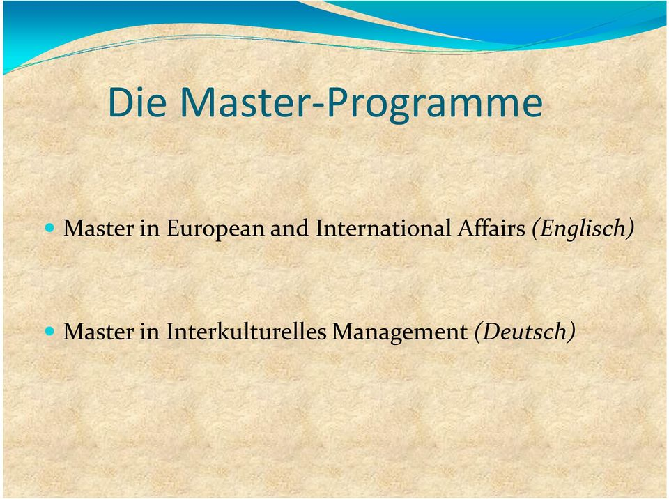 Affairs(Englisch) Master in