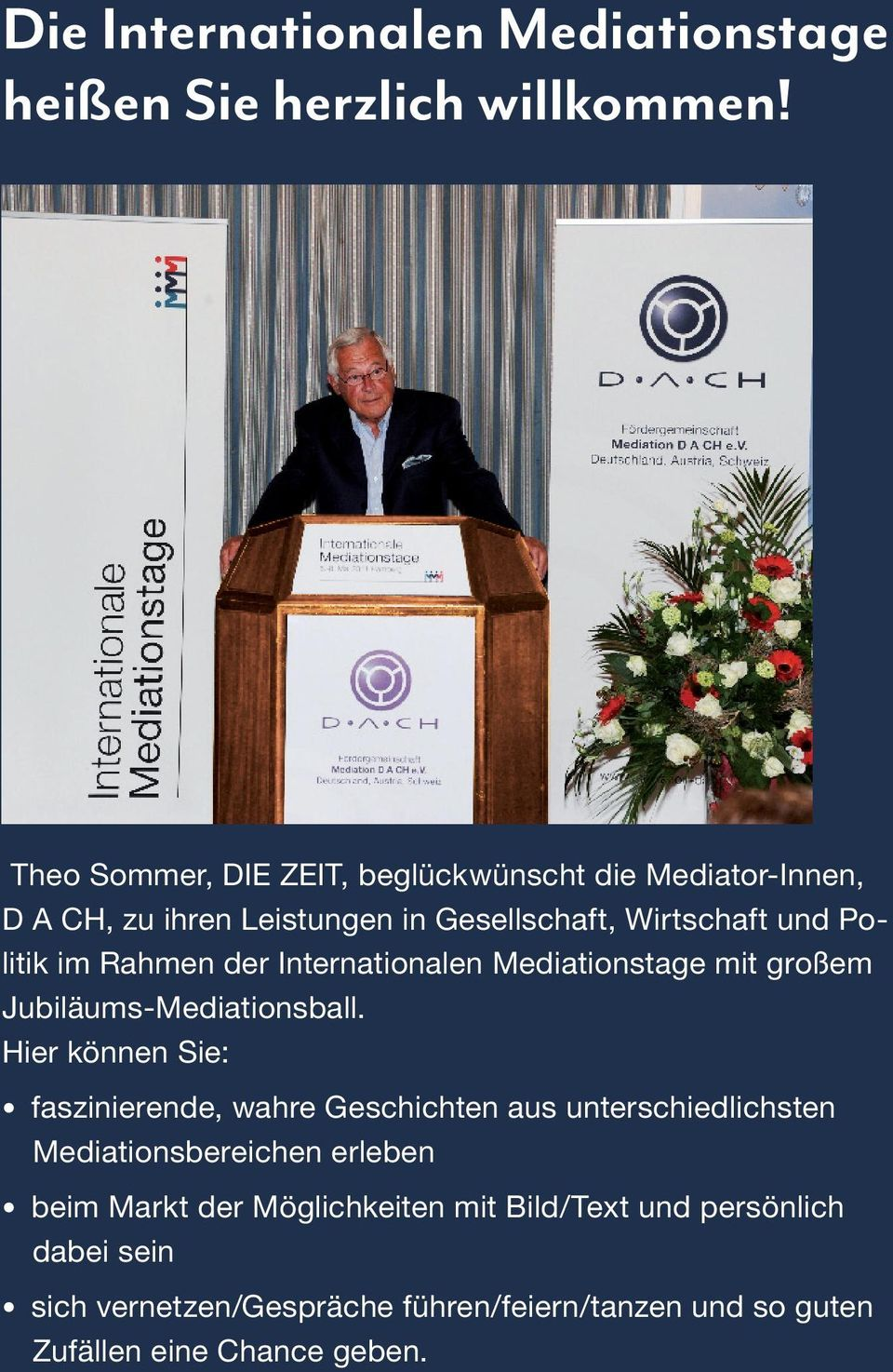 Rahmen der Internationalen Mediationstage mit großem Jubiläums-Mediationsball.
